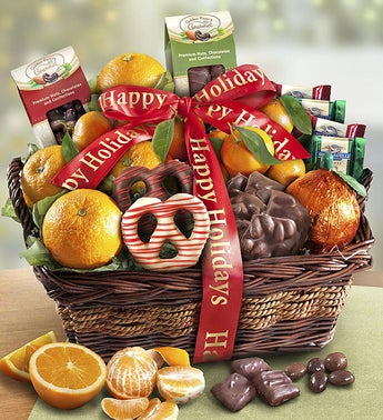 Yuletide Cheer Holiday Fruit  Sweets Basket