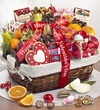 Happy Valentines Day Deluxe Fruit  Sweets Basket