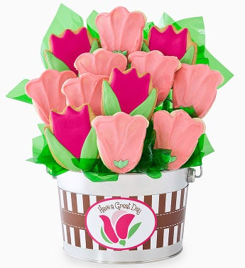 Cheryl's Pink Tulip Cookie Flower Pot
