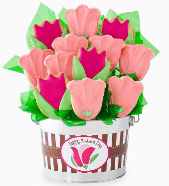 Cheryl's Happy Mother's Day Tulips Cookie Pot