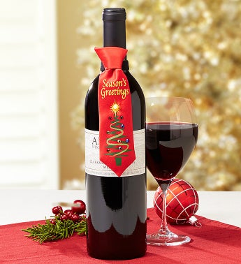 Season's Greetings Musical Tie & Alazar® Merlot