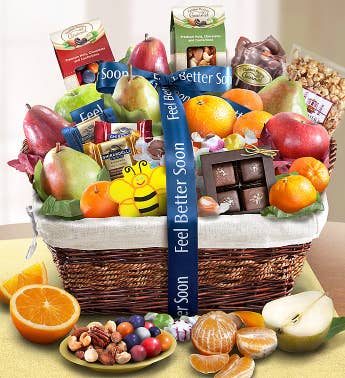 Feel Better Fruit  Sweets Gift Basket