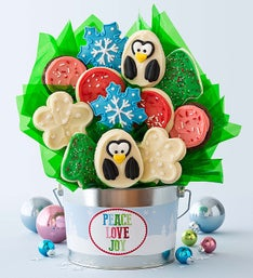 Cheryl's Holiday Penguin Cookie Flower Pot
