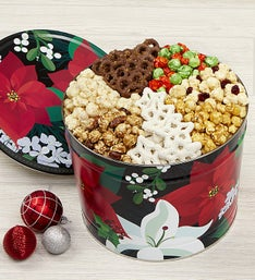 Popcorn Factory Winter Floral 7 Way Snack Asst Tin