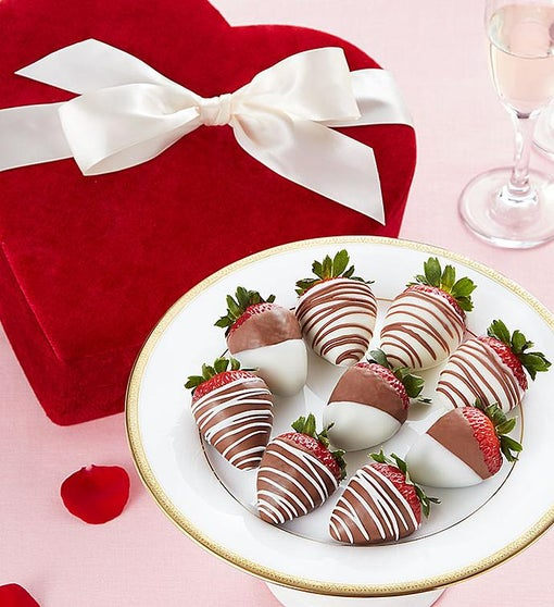 Chocolate Strawberries in Red Velvet Heart Box