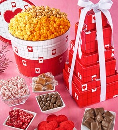 Popcorn Factory Be My Valentine 7 Tier Tin & Tower