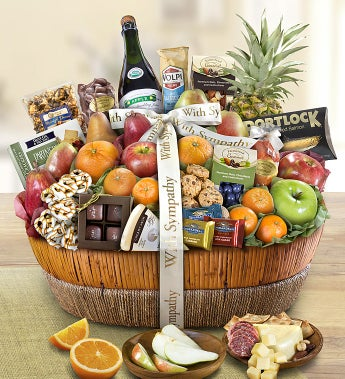 With Sympathy Fruit & Sweets Gift Basket