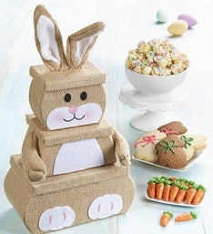 The Popcorn Factory 3 Tier Burlap Bunny Tower