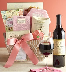 Full Bloom Sweets & Merlot Wine Basket