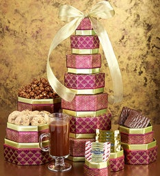 Chocolate candy delivery chocolate gift baskets 1800flowers golden elegance gift tower with ghirardelli negle Images
