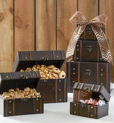 Holiday Treasures Keepsake Wood Trunk Gift Tower