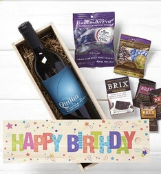 Happy Birthday Wine  Chocolates Crate