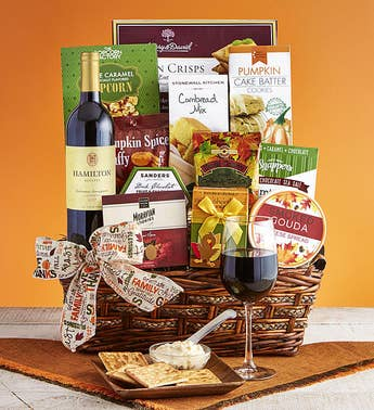 Autumn Feast Gourmet Gift Basket with Cabernet