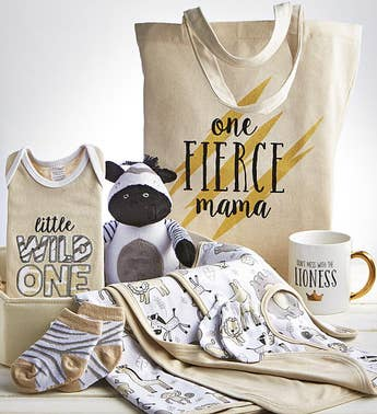 Sweet Safari 9 pc Mom  Baby Gift Basket
