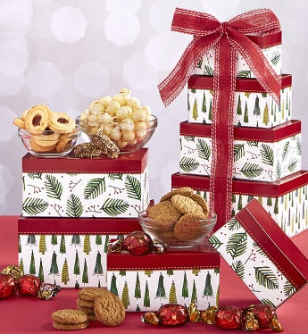 Holiday Evergreens Festive Sweets Gift Tower