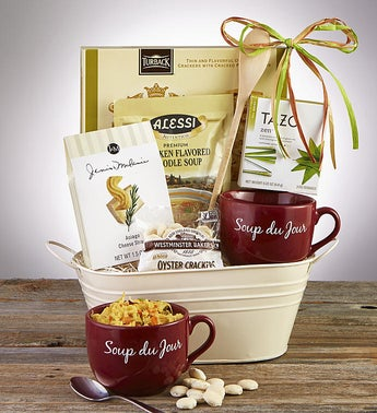 Soups On Basket with Soup Du Jour Mug
