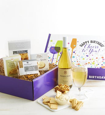 Happy Birthday White Wine Gourmet Market Box