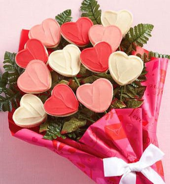 Cheryl's Valentine Long Stemmed Cookie Flowers
