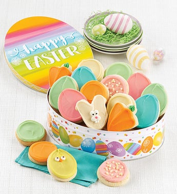 Cheryls Easter Egg Gift Tin with Frosted Cut-Outs