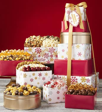The Popcorn Factory Sparkling Snowflakes Tower