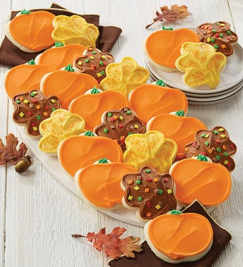 Cheryl's Pumpkin & Leaf Frosted Cookies  24 ea