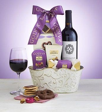 Godiva SweetsChocolates Wine Gift Basket SnipeImage