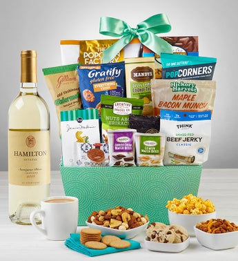 Grand Snacks  Sweets Gift Basket with Wine