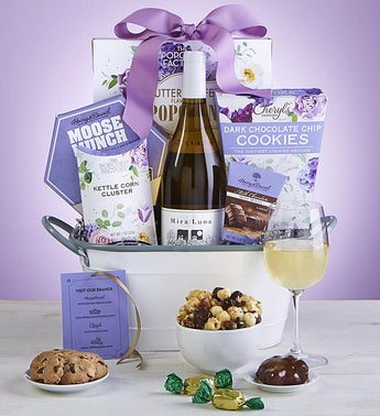 Full Bloom Sweets Wine Gift Basket snipeImage