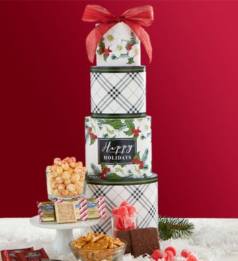 Season's Best Holly Berry Gift Tower