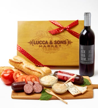Valentine Sausage  Cheese Box with Red Wine
