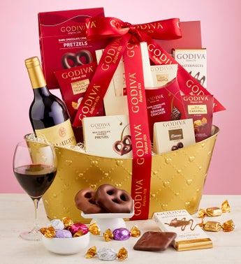Godiva Valentine Basket With Wine