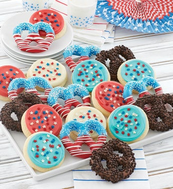 Buttercream Frosted Summer Cookies and Pretzels