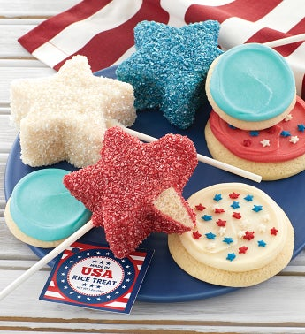 Patriotic Crispy Pops and Buttercream Frosted Cookies