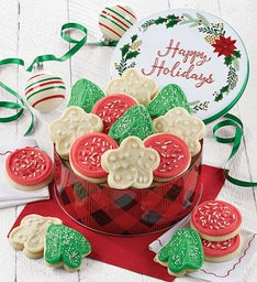 Happy Holiday Gift Tin - Frosted Holiday Cut-outs
