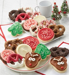 Buttercream Frosted Holiday Cookies and Gourmet Pretzels