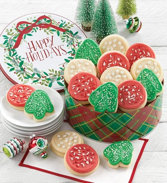 Happy Holidays Gift Tin - Cut-out Assortment