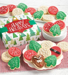 Happy Holidays Buttercream Frosted Cut-out Cookie Gift Boxes