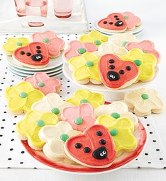 Buttercream Frosted Ladybug and Flower Cutout Cookies