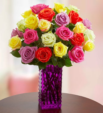 Assorted Roses: 24 Stems + Premium Free Vase