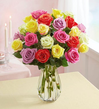 Assorted Roses, Buy 12, Get 12 Free + Free Vase For $29.99