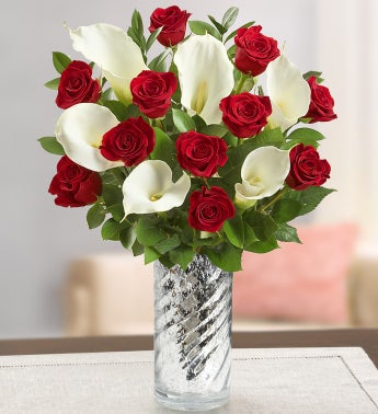 Timeless Red Rose & Calla Lily with Vase
