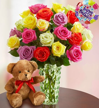 Happy Birthday Roses, 12-24 Stems