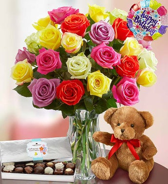 Happy Birthday Assorted Roses 12 24 Stems