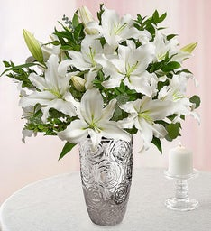 Grand White Lily Bouquet for Sympathy