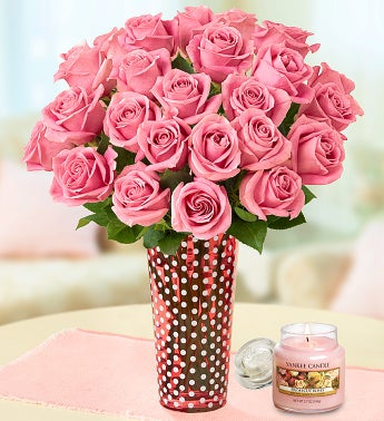 Fresh Rose Bouquet with Yankee Candle®
