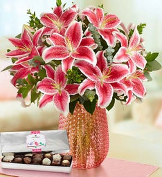 Stunning Pink Oriental Lily Bouquet