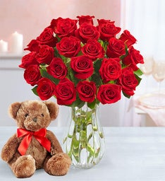 Red Roses with Bear, 12-24 Stems
