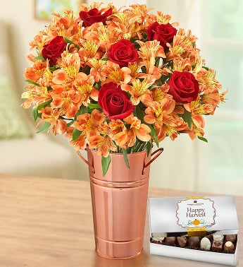 Fall Rose and Peruvian Lily Bouquet + Free Vase