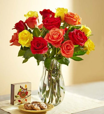 Autumn Rose Bouquet + Free Vase