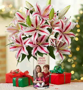 Personalized Vase with Candy Cane Lilies